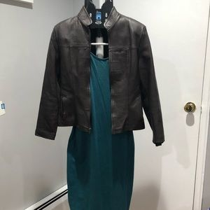 Leather jacket brown color with dress